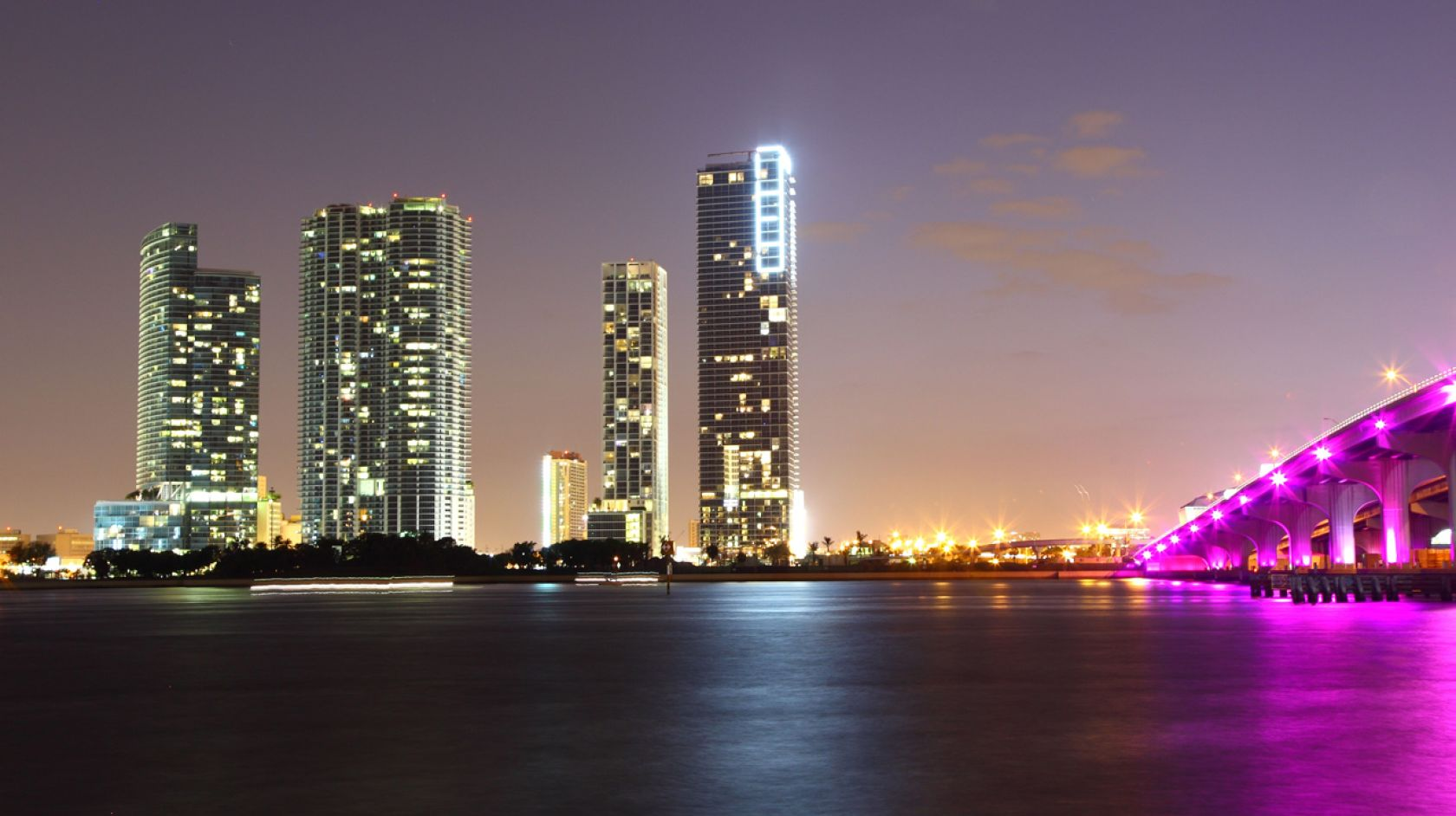 Downtown Miami Skyline upon sunset